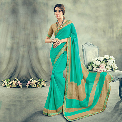 Classy Turquoise Blue Casual Printed Georgette Saree