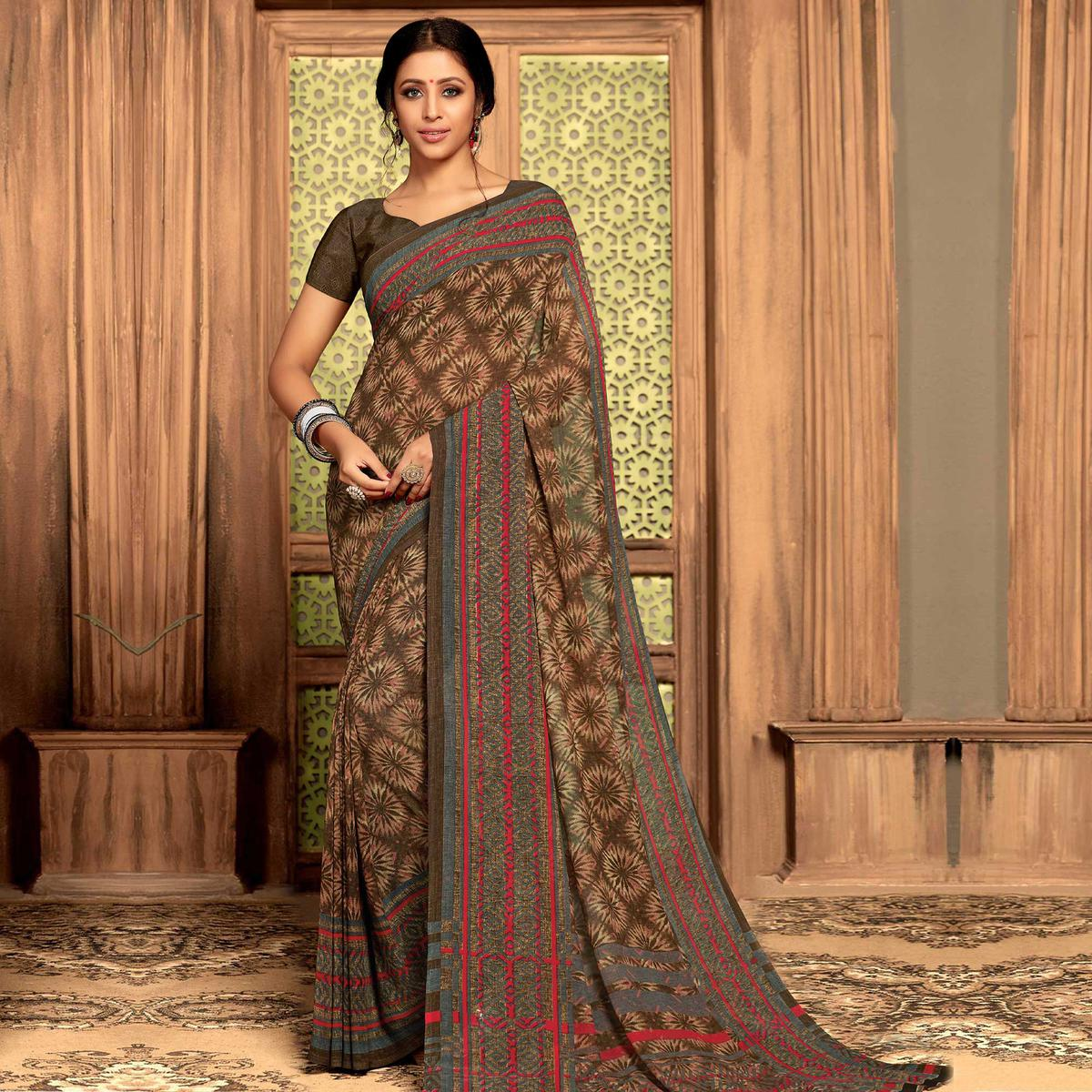 Indian Women Brown Colored Casual Wear Printed Georgette Saree