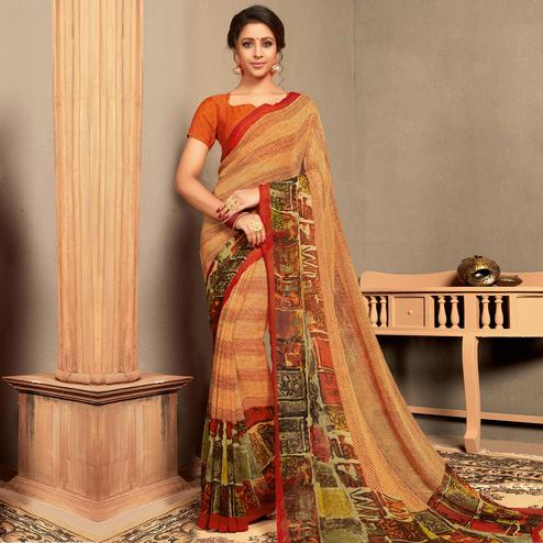 Indian Women Multi Colored Casual Wear Printed Georgette Saree