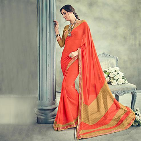 Charming Orange Casual Printed Georgette Saree