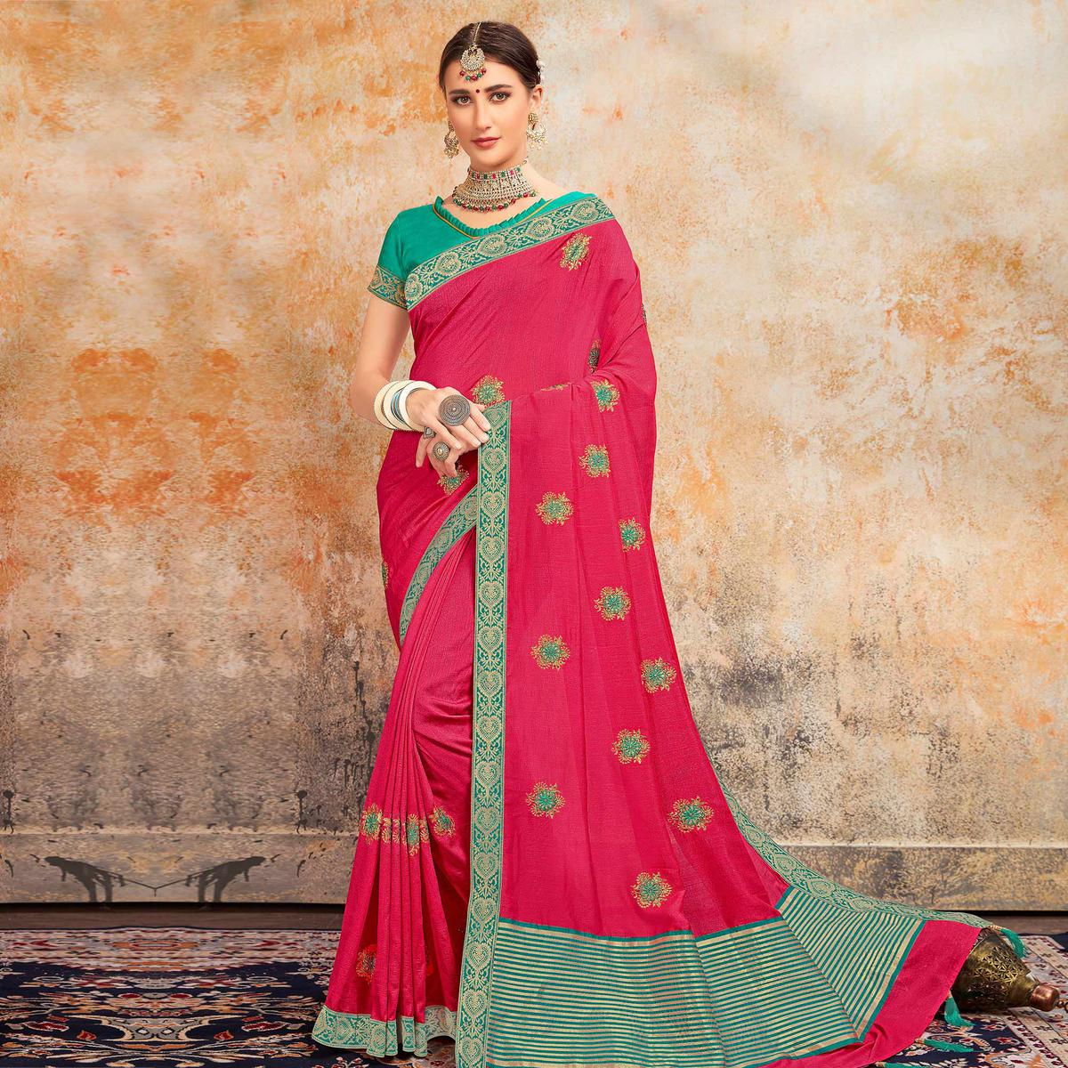 Indian Women Pink Colored Designer Partywear Embroidered Poly Silk Saree