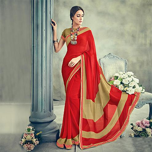 Ravishing Red Casual Printed Georgette Saree
