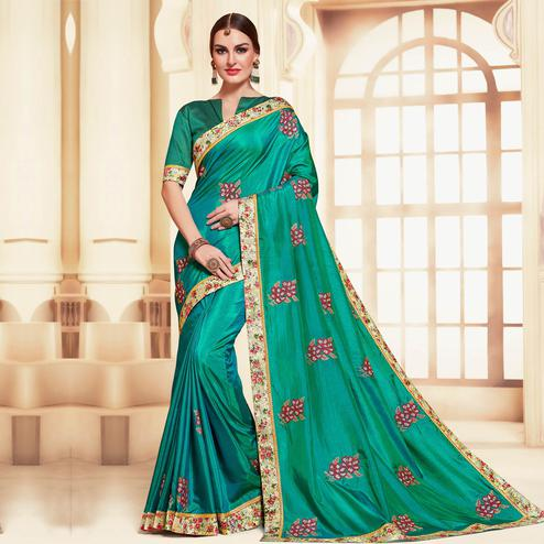 Indian Women Green Colored Designer Partywear Embroidered Poly Silk Saree