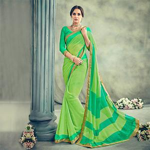 Gorgeous Green Casual Printed Georgette Saree