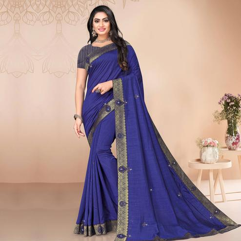Indian Women Blue Vichitra silk Lace with stocne  Work Designer Saree