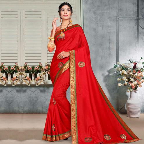 Indian Women Red Vichitra silk Lace with stocne  Work Designer Saree