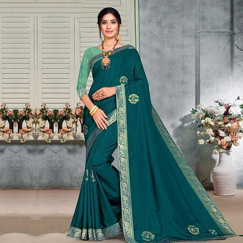 Indian Women Teal Blue Vichitra silk Lace with stocne  Work Designer Saree