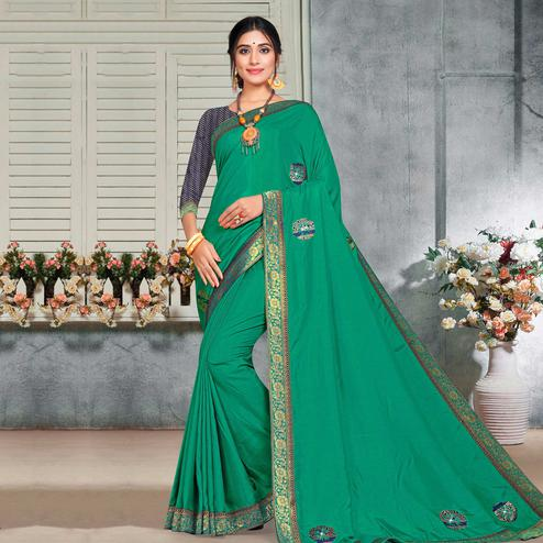 Indian Women Green Vichitra silk Lace with stocne  Work Designer Saree