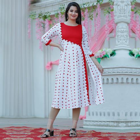 Trendme - Desirable White Colored Casual Wear Printed Rayon Kurti