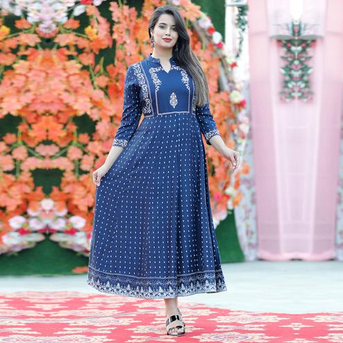 Trendme - Beautiful Blue Colored Printed With Handworked Rayon Kurti