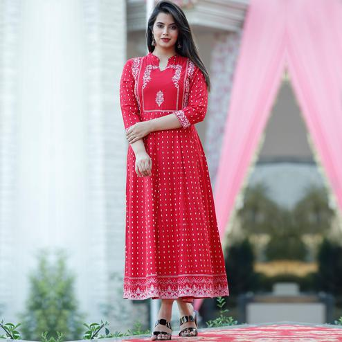 Trendme - Ravishing Red Colored Printed With Handworked Rayon Kurti