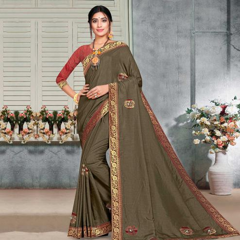 Indian Women Brown Colored Festive Wear Lace Work Vichitra Silk Saree