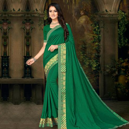 Indian Women Green Colored Festive Wear Lace Work Vichitra Silk Saree