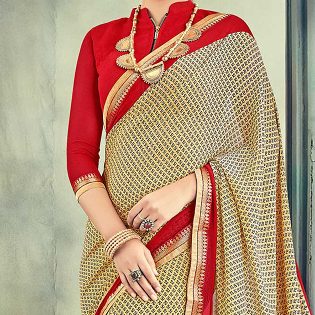 Stylish Beige Casual Printed Georgette Saree
