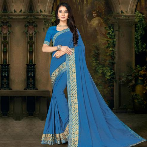 Indian Women Blue Colored Festive Wear Lace Work Vichitra Silk Saree