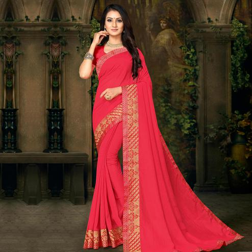 Indian Women Pink Colored Festive Wear Lace Work Vichitra Silk Saree