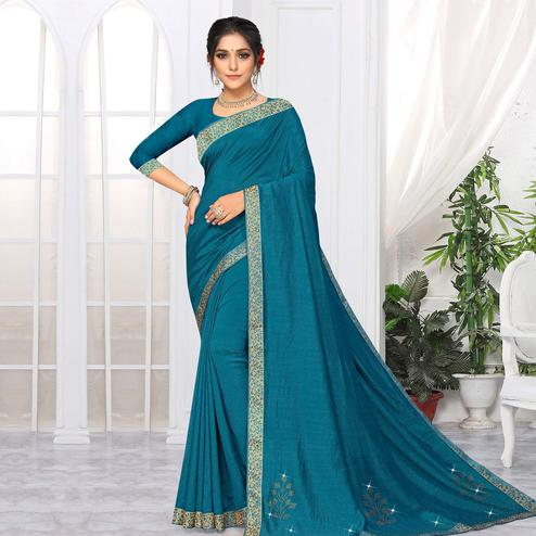 Indian Women Teal Blue Colored Festive Wear Lace Work Vichitra Silk Saree