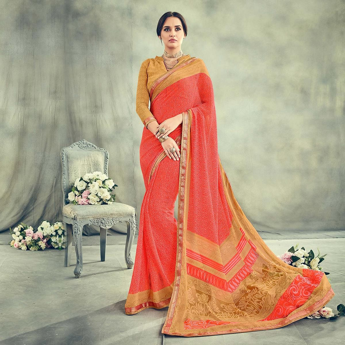 Adorable Peach Casual Printed Georgette Saree