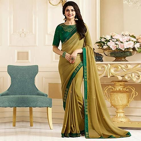 Beautiful Beige-Green Colored Designer Rangoli Silk Saree