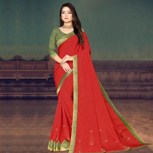 Indian Women Red Colored Festive Wear Lace Work Vichitra Silk Saree