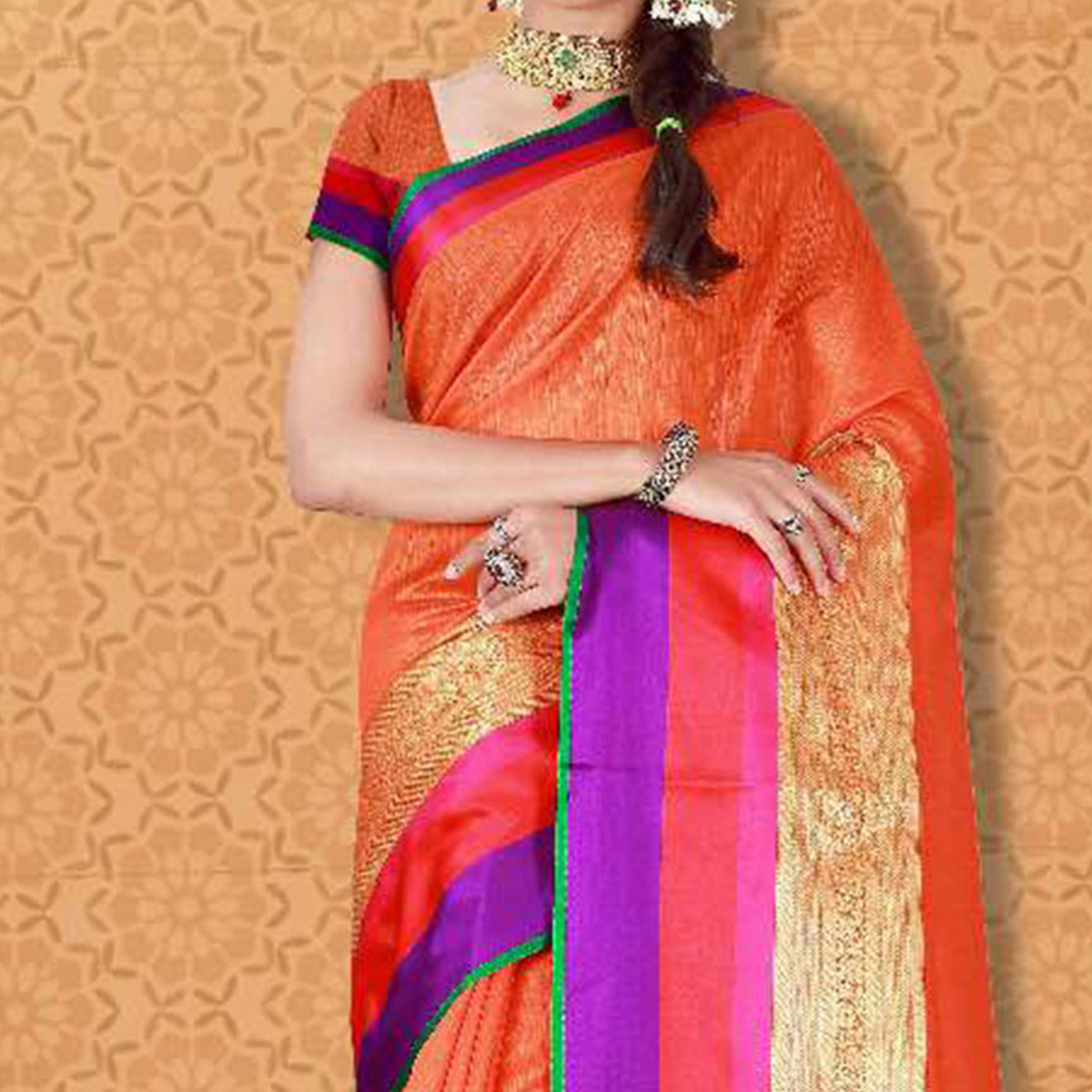Orange Banarasi Silk Woven Saree