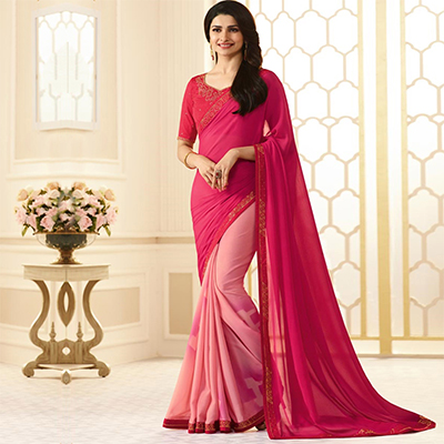 Pretty Pink Colored Designer Rangoli Silk Saree