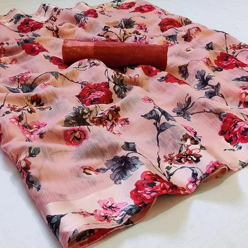 Intricate Pink Colored Casual Wear Printed Linen Saree