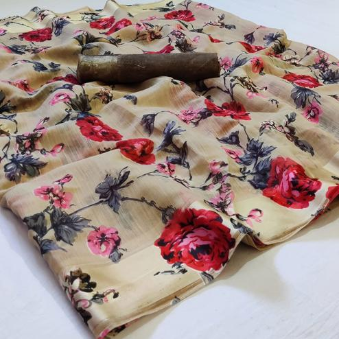 Desirable Beige Colored Casual Wear Printed Linen Saree