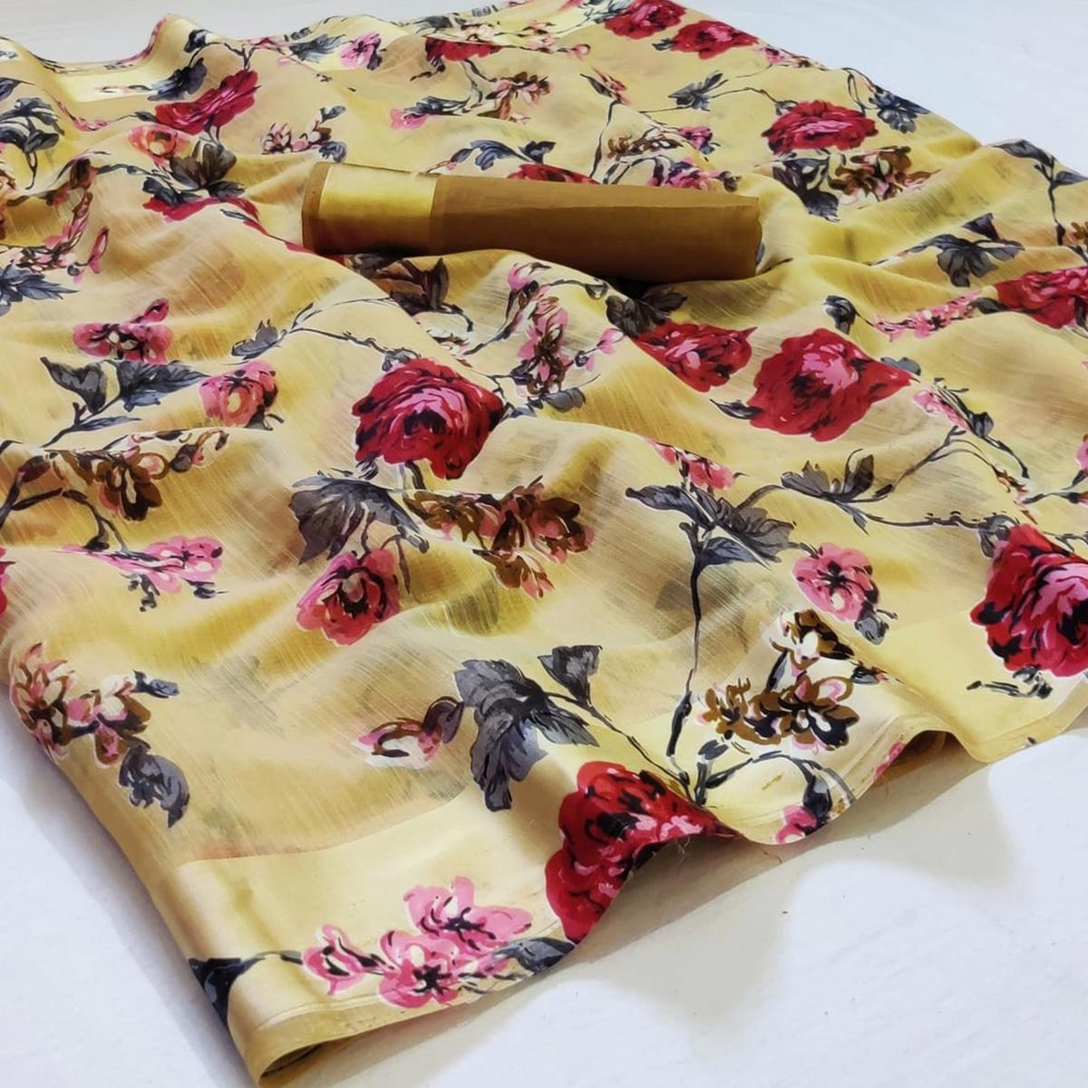 Exotic Yellow Colored Casual Wear Printed Linen Saree