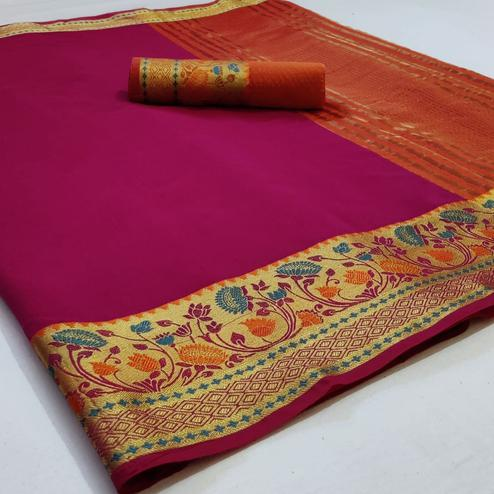 Trendy Purple Colored Festive Wear Woven Cotton Saree