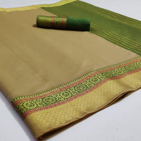 Elegant Beige Colored Festive Wear Woven Cotton Saree