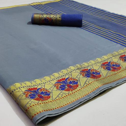 Radiant Grey Colored Festive Wear Woven Cotton Saree
