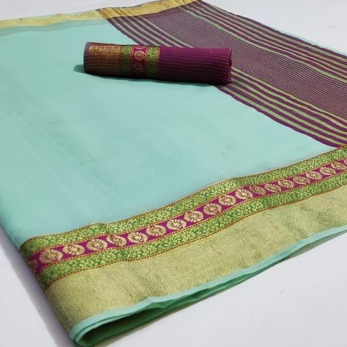 Opulent Sea Green Colored Festive Wear Woven Cotton Saree