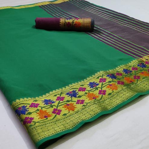 Exceptional Green Colored Festive Wear Woven Cotton Saree