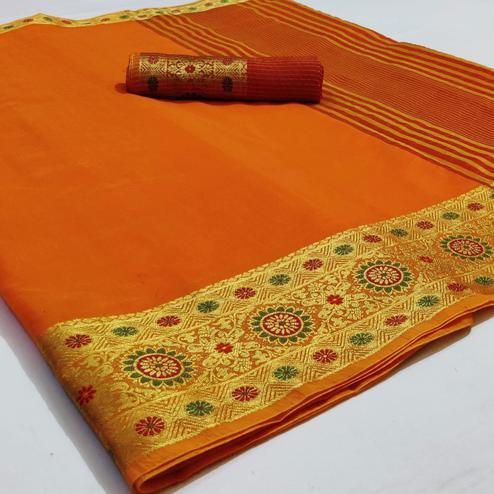 Mesmeric Yellow Colored Festive Wear Woven Cotton Saree