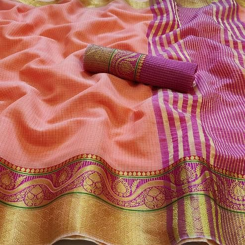 Refreshing Peach Colored Festive Wear Woven Kota Doria Saree