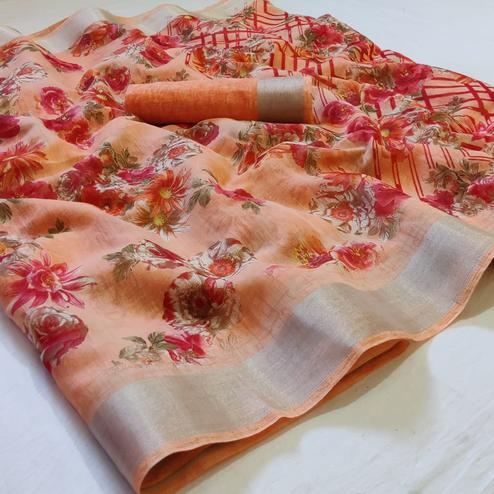 Stunning Peach Colored Casual Wear Floral Printed Linen Saree