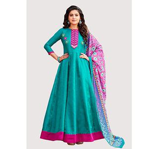 Dazzling Blue Colored Designer Abaya Style Banglori Silk Anarkali Suit