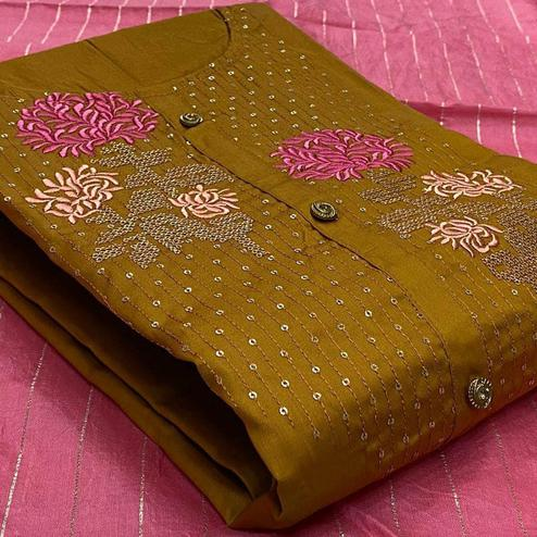 Exclusive Mustard Yellow Colored Partywear Embroidered Cotton Dress Material