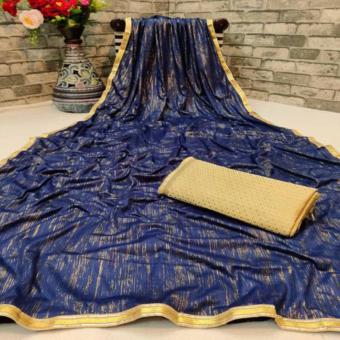 Adorable Blue Colored Partywear Lycra Blend Saree