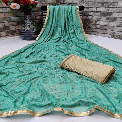 Glorious Sea Green Colored Partywear Lycra Blend Saree