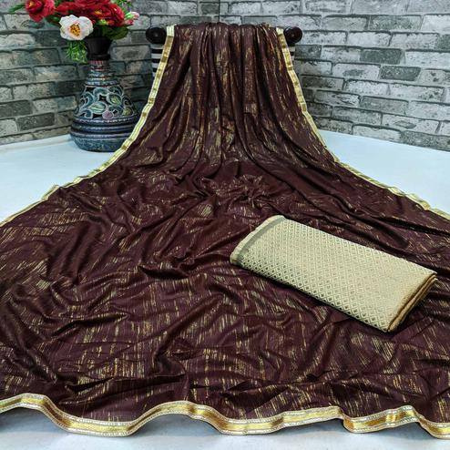 Attractive Coffee Colored Partywear Lycra Blend Saree