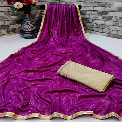 Beautiful Magenta Colored Partywear Lycra Blend Saree