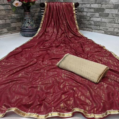Graceful Maroon Colored Partywear Lycra Blend Saree