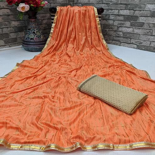 Blooming Orange Colored Partywear Lycra Blend Saree