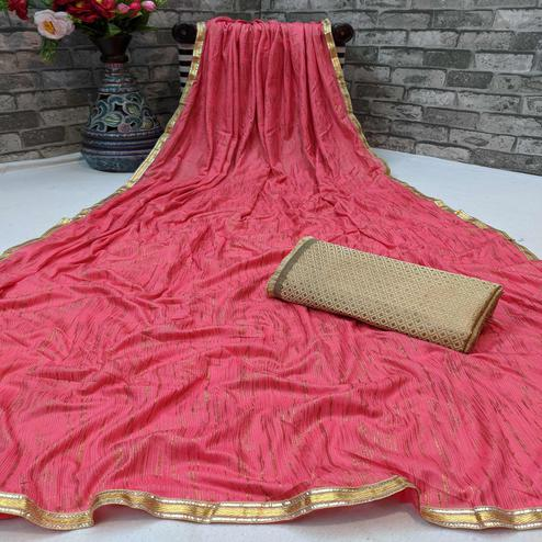 Charming Peach Colored Partywear Lycra Blend Saree