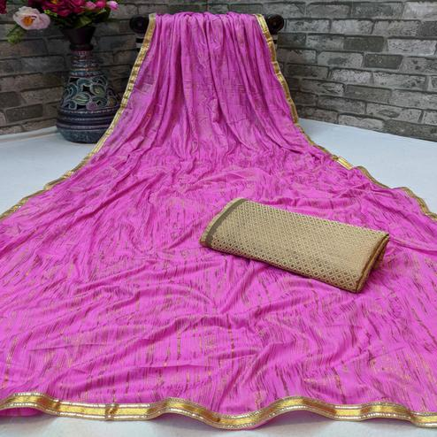 Jazzy Pink Colored Partywear Lycra Blend Saree