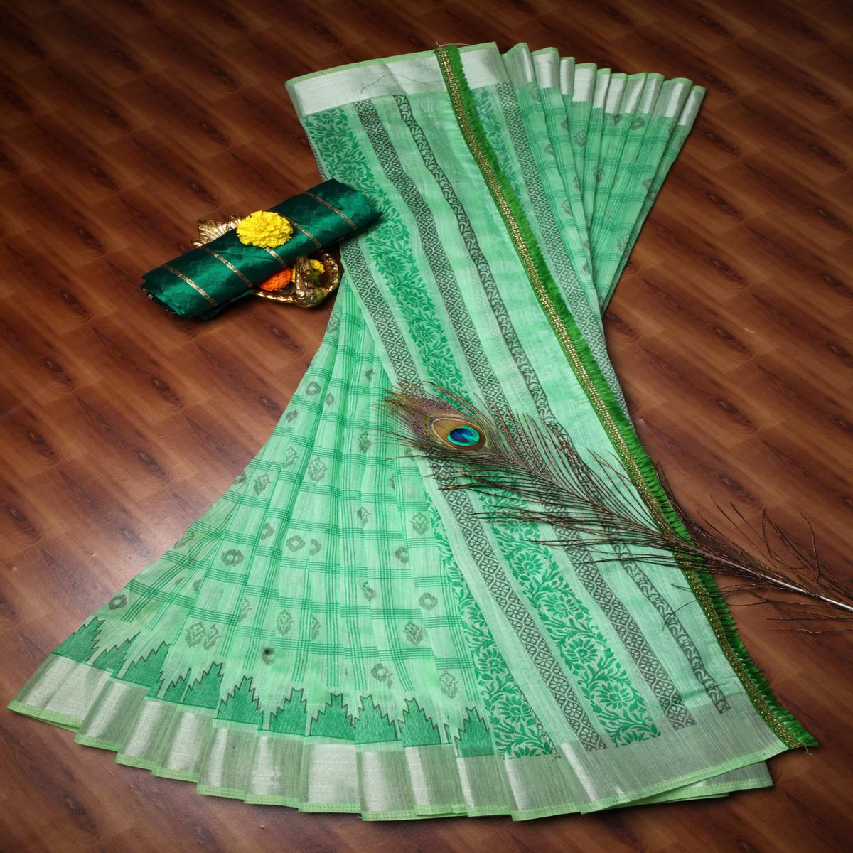 Engrossing Parrot Green Colored Casual Wear Printed Cotton Saree