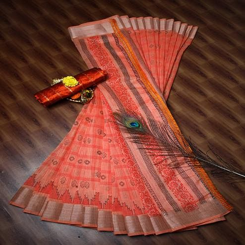 Captivating Peach Colored Casual Wear Printed Cotton Saree