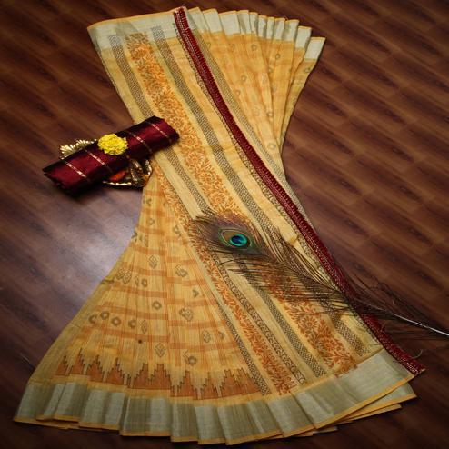 Innovative Yellow Colored Casual Wear Printed Cotton Saree